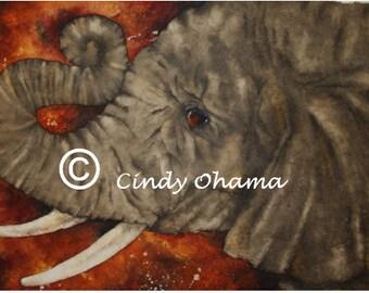 Batik Elephant (Watercolor) by Cindy Ohama