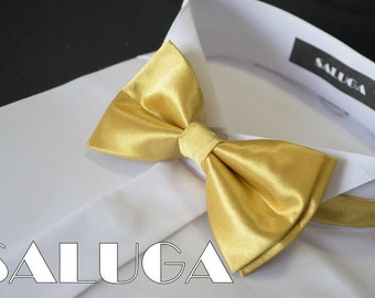 New wedding bowtie bow tie gold color Handmade