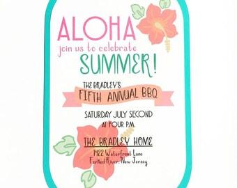 Aloha BBQ Invitations