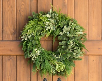 California Greens Wreath | Christmas Wreath | Holiday Wreath | Christmas Door Decorations | Wreaths for Christmas | Wreaths for the Holidays