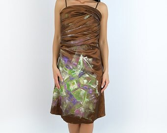 hand painted brown dress