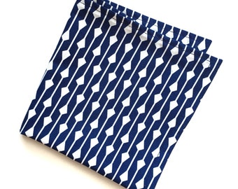 Blue And White Arrow Pattern Pocket Square
