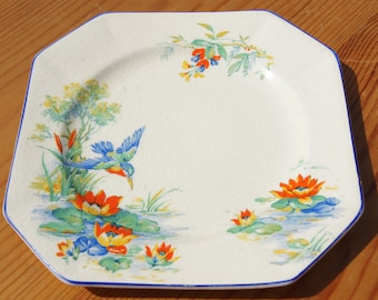 A Colourful Kingfisher Plate by Burslem.
