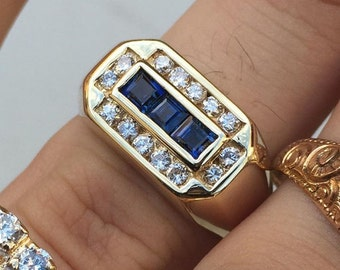 14k Princess Cut Sapphire and Diamond Ring