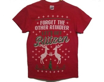 Festive Holiday Drinking Shirt - SMALL - Let's Get Blitzen Red Christmas T-Shirt
