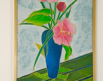 Wall Art. Frame. Handpainted Silk Scarf dyed with silk dyes. Vase with orchids, Gift for her, Home decor