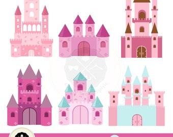 Princess Castles Clipart,castles clipart,princess clipart,fairytale clipart,digital download