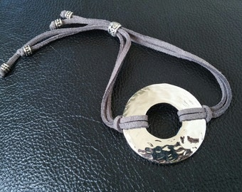 grey leather with silver round accent adjustable bracelet