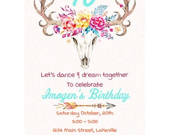 Girl's Boho Birthday Invitation, Flower Crown, Horns, Tribal Arrows, Instant Download, Digital File, Editable PDF,