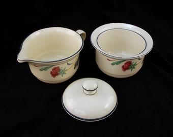 Lenox Poppies on Blue Bone China Sugar Bowl with Lid and Creamer, Vintage 1980s-1990s 3-Piece Sugar Creamer Set