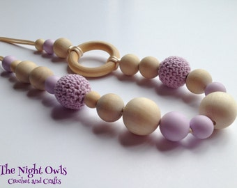 Necklace - Teething / Nursing, Silicone, Cotton Crochet & Wood - mothers to wear while breastfeeding, bottle-feeding and babywearing - lilac