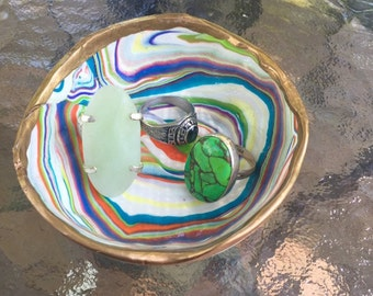 Purple Blue Green and Orange ColorSwirl Clay Bowl