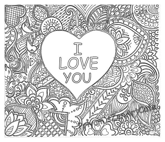 ... adult coloring page, zentangle print, instant gift download, printable
