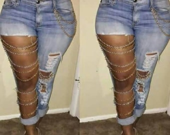 Plus size Chain Jeans