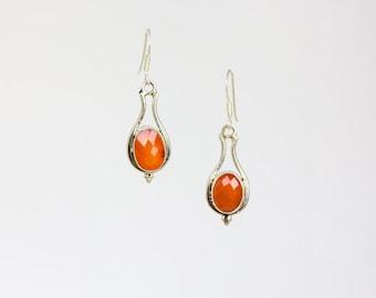 Orange Jade silver earrings
