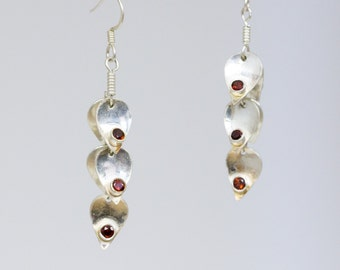 Tiered leaf earrings with ruby beads