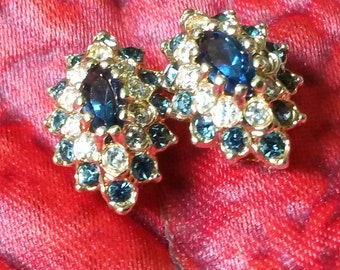 Blue Sapphire Earrings with Swarovski Crystals
