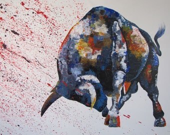 Animal Bull Painting Abstract Painting on canvas, Original & HandMade painting , Modern Art , By TOMER SHARABANI