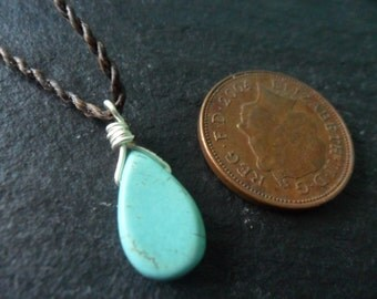 Small turquoise tear drop necklace