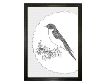Bird Black and white Poster A4