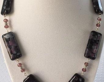 Black and violet jasper necklace