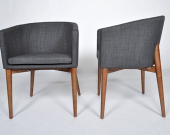 Set of 2 Mid Century Modern Gray Chair Removable Cushion