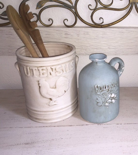 Farmhouse Utensil Holder Chalk Painted And By Customizeit2016