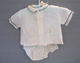 Vintage Baby Boy Outfit Darling Baby Romper Puppy Dog Boy