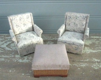 Vintage Dollhouse Furniture Matching Chairs and Ottoman Dollhouse 1970s