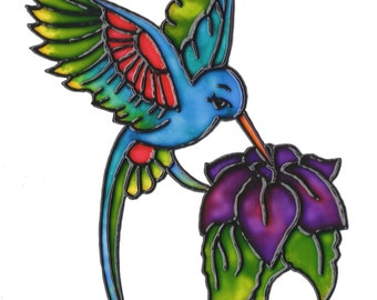 Hummingbird with Flower Decorative Cling