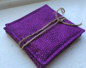 Purple fabric coasters. Set of four. Perfect for a hostess gift!