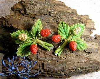 hair clips, hairpin, strawberries, flowers hairpin, barrette with berries