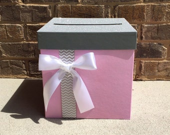 Superb Baby Shower Card Box Centerpiece  Chevron Gray With Pink, Lavender, Mint  Green,