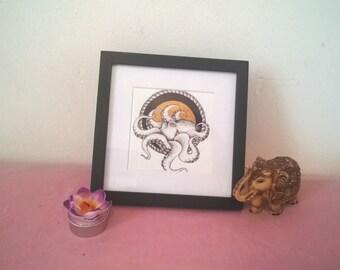 Framed octopus print