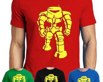 man-bot sheldon cooper inspired red geek t-shirt