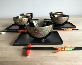 Japanese bowls tray & chopstick set of 5.