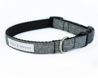 Dog Collar-Dyed Black Linen