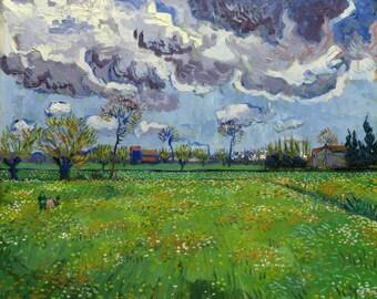 Vincent Van Gogh 1889, Landscape Under a Stormy Sky, HD Canvas Print or Art Print, Artwork Wall Poster Impressionism Print Canvas Van Gogh