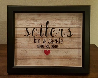 Personalized Framed Family Name Shadow Box - 8x10