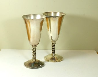 Vintage Silver Goblets Set of 2 Shabby & Chic Silver Stemmed Wine Glass Silver Chalice Formal Dining Wedding Toast