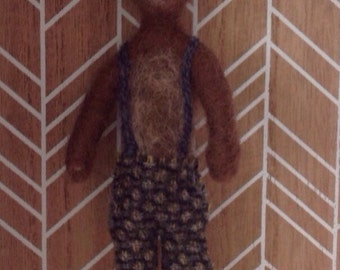 Little brown one of a kind, needlefelted bear in short pants with braces.