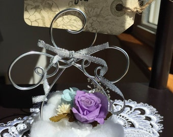 Preserved Flower Wire Angel (with a card holder)