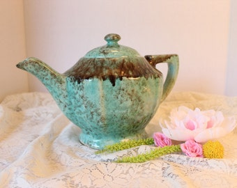 Gonder Pottery Classic Tea Pot Mid Century Mold P31 in Turquoise Green with Brown Glaze Vintage