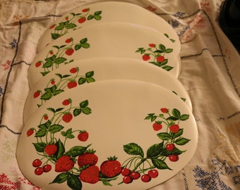 Vintage Strawberries and Cherries Placemats