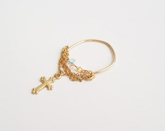 Ring 14 k gold-plated cross chains