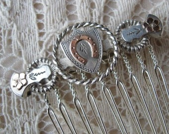 Antique Silver Hair Comb-Hand Made & Unique Antique Style Wedding Hair Comb-  Silver Circa 1900-1910- Equestrian Comb