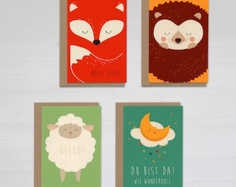 Folded cards set of 4