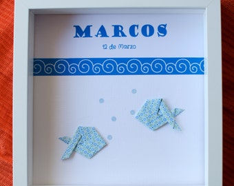 Origami personalized *NAME* and *DATE* fishes shadowbox