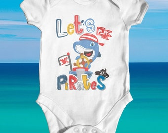Let's Play Pirates Baby Bodysuit | Animal Baby Bodysuit | Funny Baby Bodysuit | Cute Baby Clothes | Unisex Baby Clothes | Baby Shower Gift