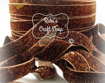 Brown Glitter Fold Over Elastic-FOE-Elastic Hair Tie-DIY-Baby Headband-Gift-Elastic-Headband Supplies-Elastic By The Yard-Craft Supplies-